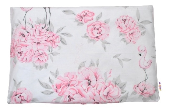 Baby Nellys Povlak na polštářek Plameňák, 40x60 cm - růžový