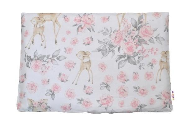 Baby Nellys Povlak na polštářek Srnka a růže, 40x60 cm - růžový