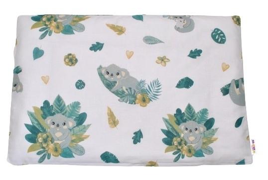 Baby Nellys Povlak na polštářek Tropical Koala, 40x60 cm - bílá/zelená