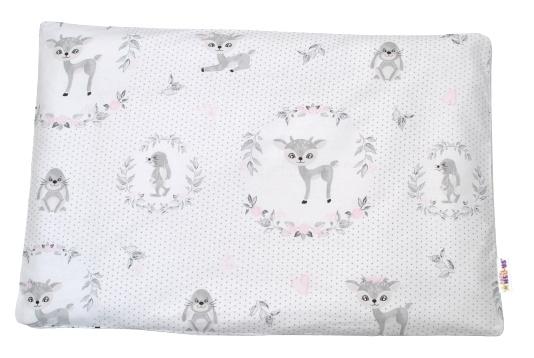 Baby Nellys Povlak na polštářek Koloušek, 40x60 cm - růžový/šedý