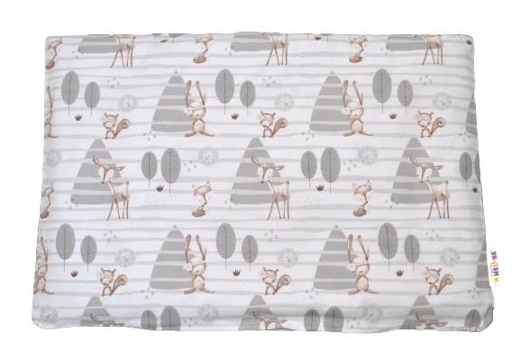 Baby Nellys Povlak na polštářek Zvířátka v lese, 40x60 cm - šedý