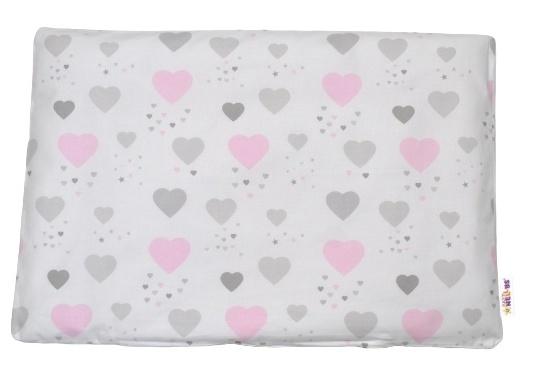 Baby Nellys Povlak na polštářek Srdíčka, 40x60 cm - růžový/šedý