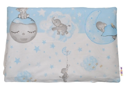 Baby Nellys Povlak na polštářek Baby Elephant, 40x60 cm - modrý