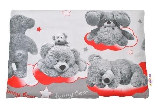 Baby Nellys Povlak na polštářek Medvídek hvězdička, 40x60 cm - šedá/ červená