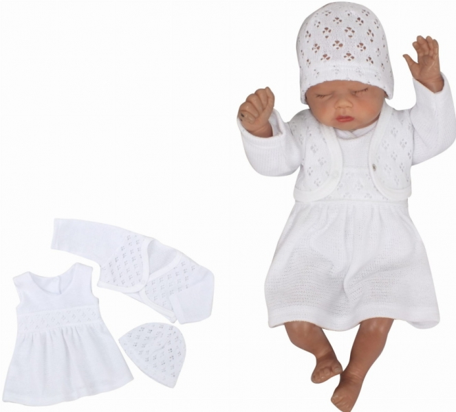 Z&Z 3-dílná pletená sada šatičky, bolérko a čepička - bílá, vel. 68