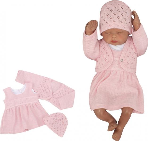 Z&Z 3-dílná pletená sada šatičky, bolérko a čepička - růžová, vel. 62