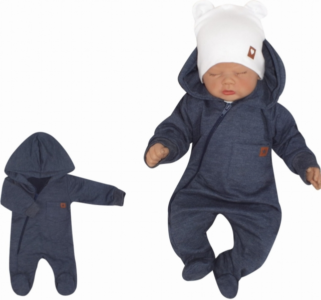 Z&Z Dětský teplákový overálek se šlapkama, kapucí a kapsičkou, jeans, vel. 86