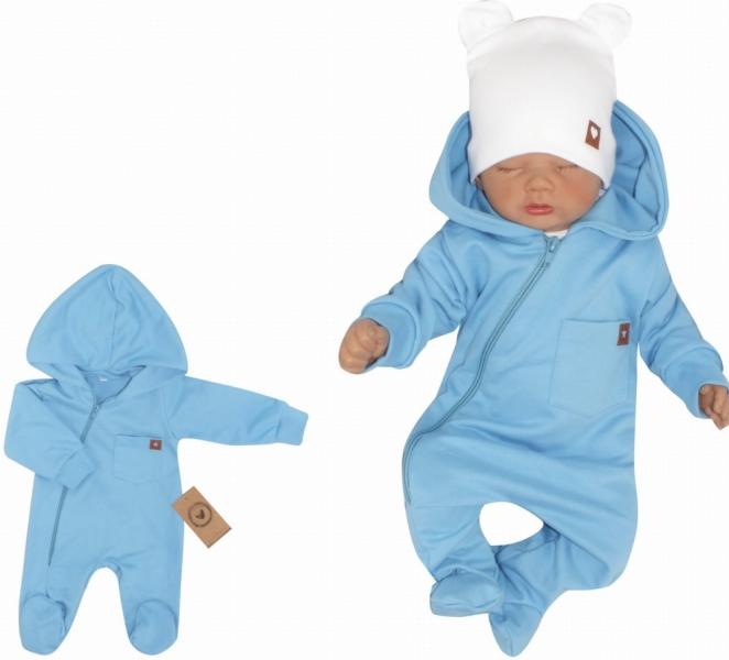 Z&Z Dětský teplákový overálek se šlapkama, kapucí a kapsičkou, modrý, vel. 74