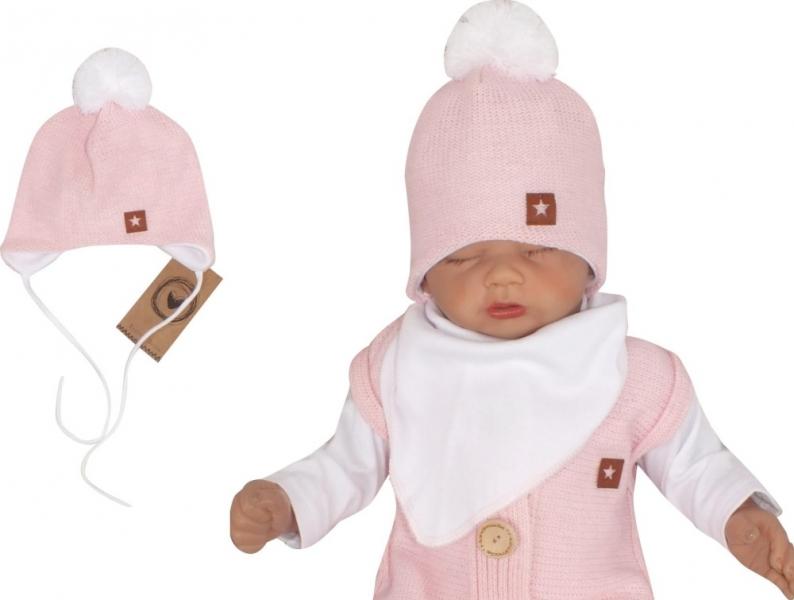 Z&Z Dvouvrstvá pletená čepice na zavazování s bambulí, růžová