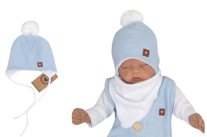Z&Z Dvouvrstvá pletená čepice na zavazování s bambulí, modrá