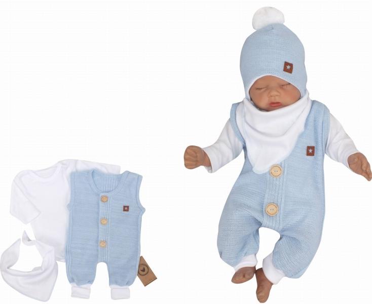 Z&Z 3-dílná soupravička body, dupačky s knoflíčky a šátek, bílá/modrá