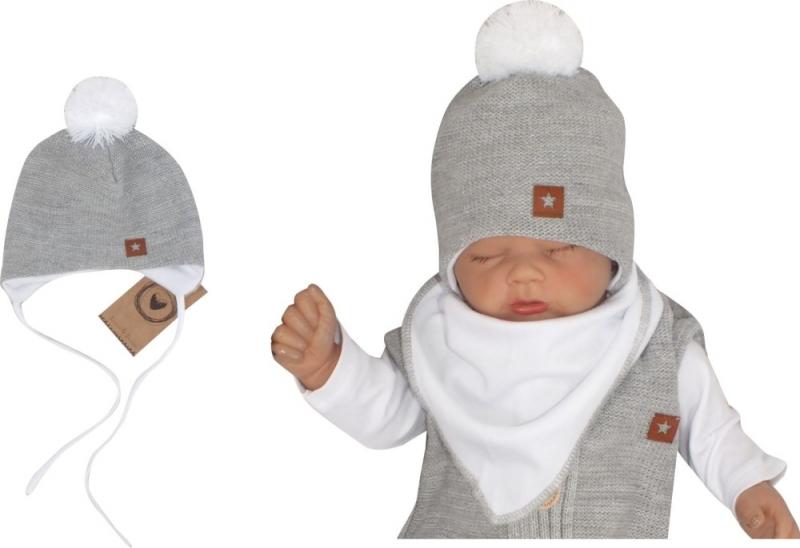 Z&Z Dvouvrstvá pletená čepice na zavazování s bambulí, šedá