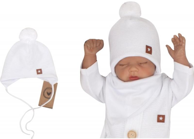Z&Z Dvouvrstvá pletená čepice na zavazování s bambulí, bílá