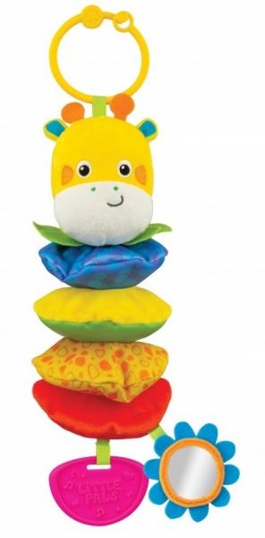 Tulimi Vibrující závěsná plyšová hračka se zrcátkem a chrastítkem - Žirafka