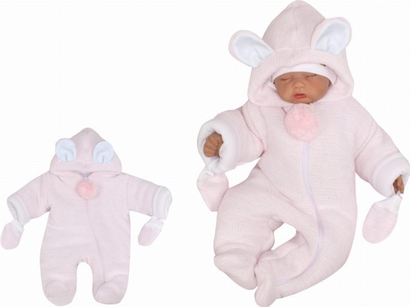 Z&Z Oteplená pletená kombinéza s kožešinou a kapucí s oušky + rukavičky - růžová