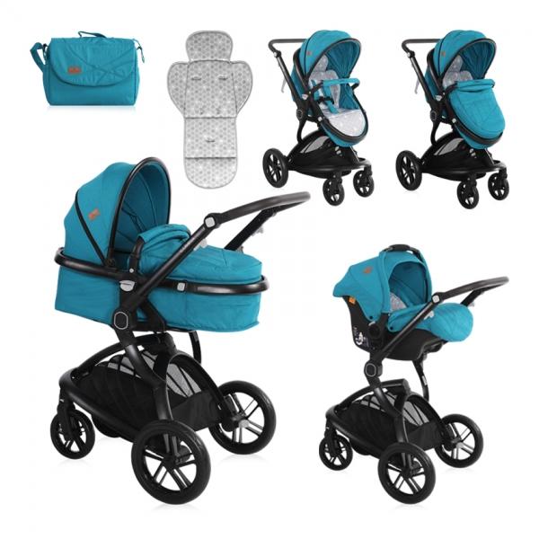 Kočárek Lorelli LUMINA (3v1) + Nánožník + Taška na kočárek DARK BLUE