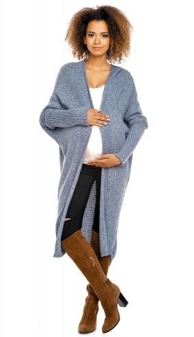 Be MaaMaa Dlouhý pletený těhotenský kardigan - jeans