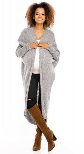 Be MaaMaa Dlouhý pletený těhotenský kardigan - šedý