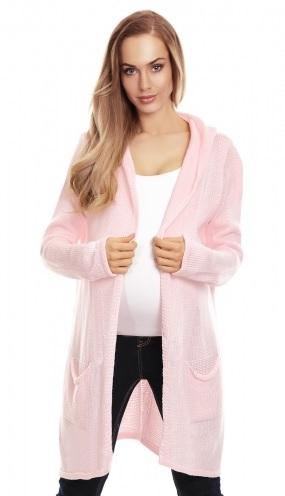 Be MaaMaa Těhotenský kardigan s kapucí, sv. růžový