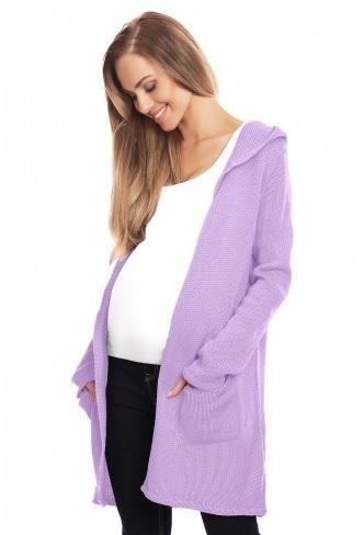 Be MaaMaa Těhotenský kardigan s kapucí, lila