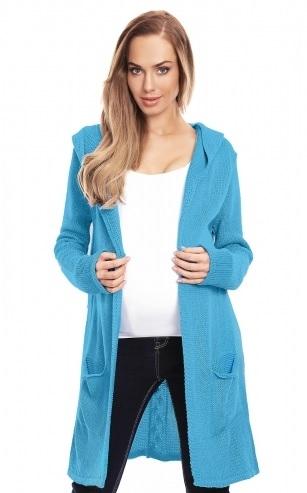 Be MaaMaa Těhotenský kardigan s kapucí, modrý