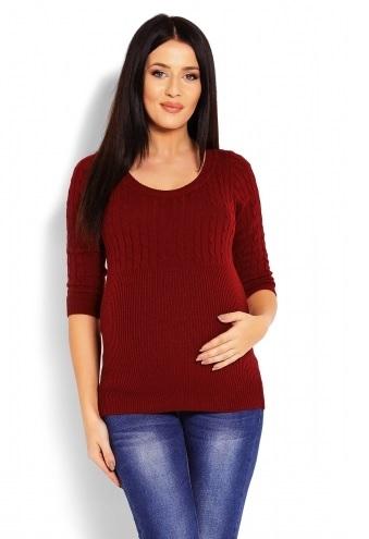Be MaaMaa Těhotenský svetr 3/4 rukáv - bordo