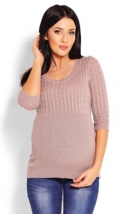 Be MaaMaa Těhotenský svetr 3/4 rukáv - cappucino