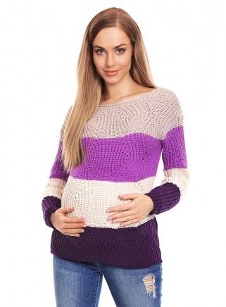 Be MaaMaa Teploučký těhotenský svetr, široké pruhy - fialová