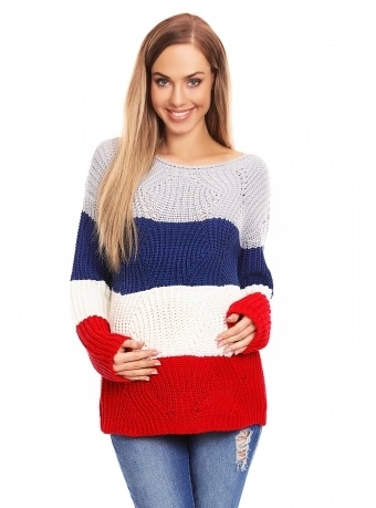 Be MaaMaa Teploučký těhotenský svetr, široké pruhy - jeans, červená