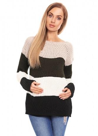 Be MaaMaa Teploučký těhotenský svetr, široké pruhy - khaki