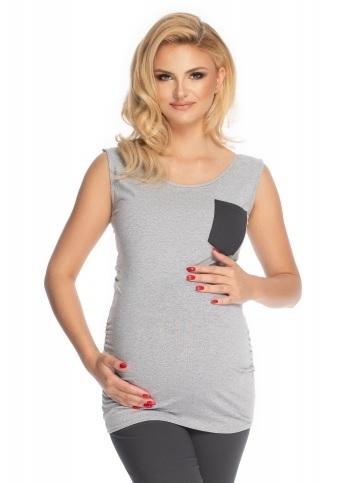 Be MaaMaa Těhotenské, kojící pyžamo 3/4 - šedé, grafitové, vel. L/XL