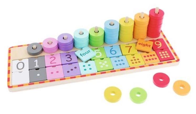 Trefl Dřevěná hračka, počítadlo s anglickými čísly a žetóny