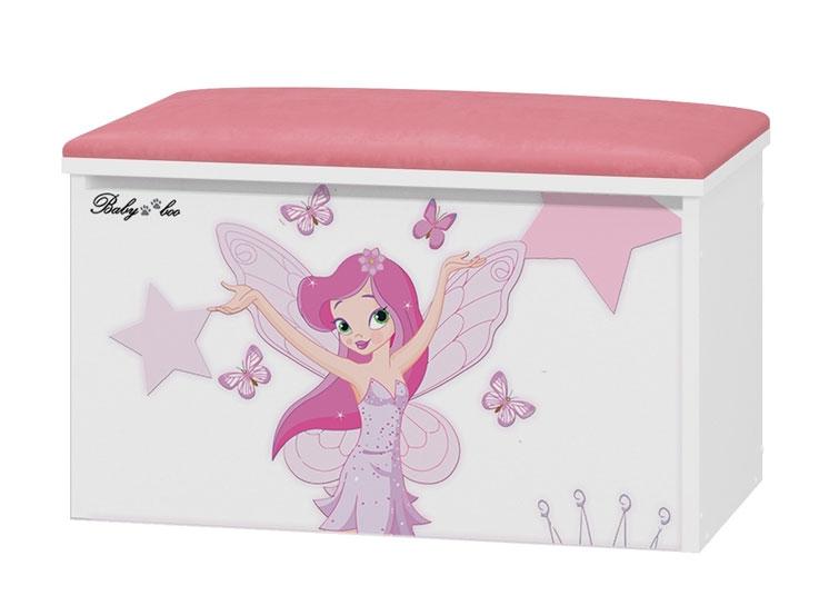 BabyBoo Box na hračky s motivem Little Princess + čalouněné sedalo