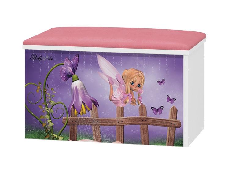 BabyBoo Box na hračky s motivem Fialový zvoneček+ čalouněné sedalo