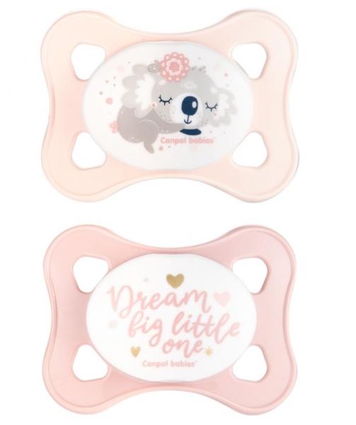Canpol Babies Dudlíky 0-2m, Mini soother Koala - růžové