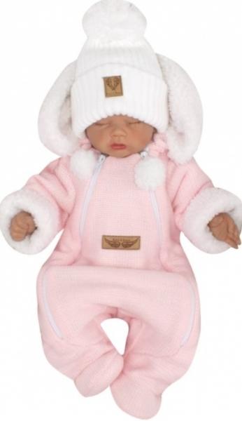 Z&Z Zimní pletená kombinéza s odnímatelnou kapucí - růžová, vel. 74