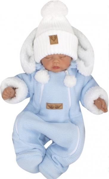 Z&Z Zimní pletená kombinéza s odnímatelnou kapucí - modrá, vel. 80