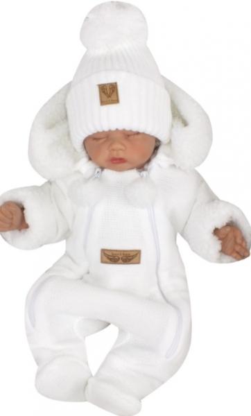 Z&Z Zimní pletená kombinéza s odnímatelnou kapucí - bílá