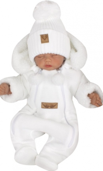 Z&Z Zimní pletená kombinéza s odnímatelnou kapucí - bílá, vel. 80