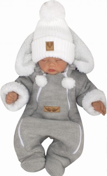 Z&Z Zimní pletená kombinéza s odnímatelnou kapucí - šedá, vel. 86