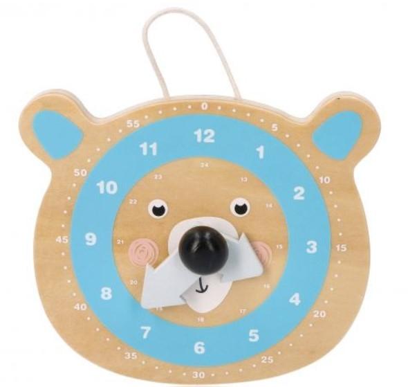 Adam Toys Naučné dřevěné hodiny - Medvídek