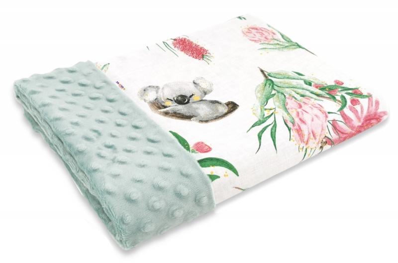 Baby Nellys Bavlněná deka s Minky 100x75cm, Exotika, bílá/mátová