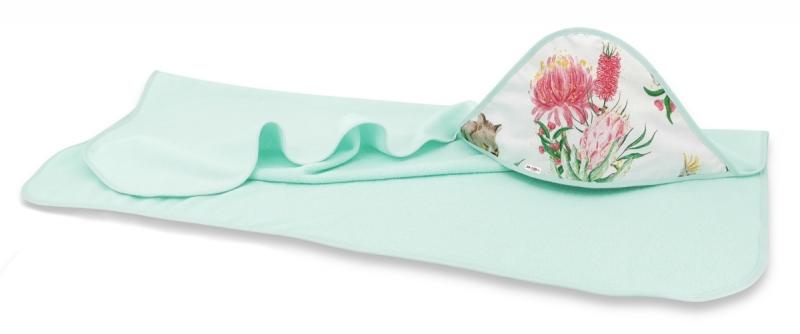 Dětská termoosuška s kapucí Baby Nellys, Exotika, 100 x 100 cm, bílá/mátová