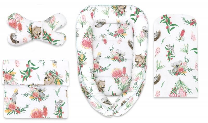 Baby Nellys Sada komplet, oboustranné hnízdečko 55 x 85 cm, Exotika, bílá/mátová