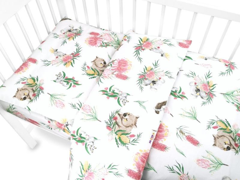 Baby Nellys 2-dílné bavlněné povlečení 135x100 cm, Exotika - bílá