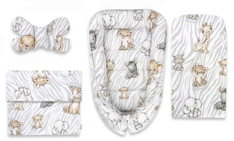 Baby Nellys Sada komplet, oboustranné hnízdečko 55 x 85 cm, ZOO Natural, šedá