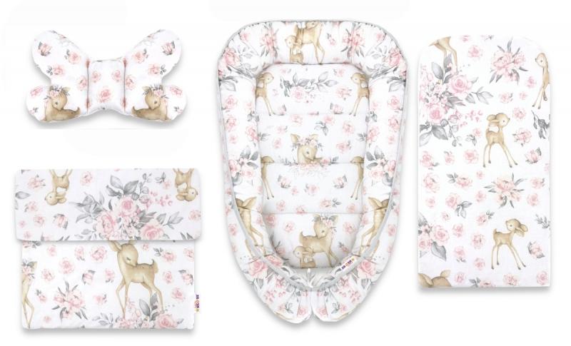 Baby Nellys Sada komplet, oboustranné hnízdečko 55 x 85 cm, Srnka a růže - růžová