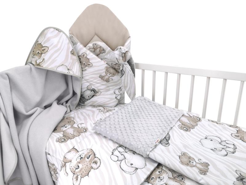 Baby Nellys 6-ti dílná výhod. sada s dárkem pro miminko, 135 x 100 - ZOO, béžová