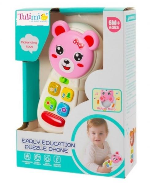 Tulimi Interaktivní hračka - Telefón Medvídek, růžový