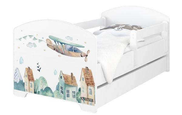 BabyBoo Dětská postel 160 x 80cm - Letadlo + šuplík